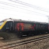 """GWR World War I commemorative branded Class 43 HST Power Car no. 43172 """"Harry Patch"""" tailing a set past Old Oak Common, 07.07.2018."""