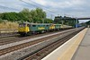 19 July 2018 :: A pair of Class 86 locomotives makes a fine sight at Carpenders Park. The train is 4M87 from Felixstowe to Trafford Park and features 86608 + 86637