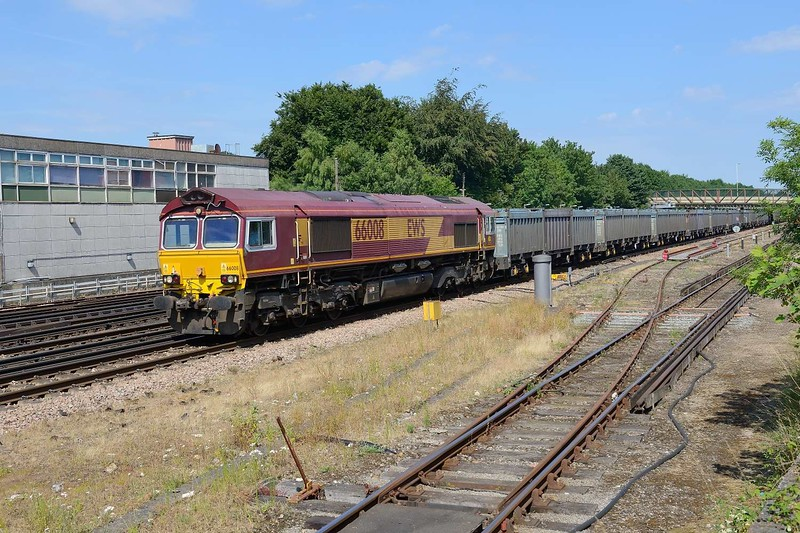 3 July 2018 :: GBRf's 66008 (yet to be repainted) is passing Basingstoke leading 4Y19 Gypsum train from Mountfield to Southampton
