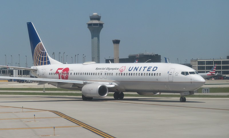 United Airlines Boeing 737-900 N66837 in Special Olympics 50 years branding at Chicago O'Haire, 29.06.2018.