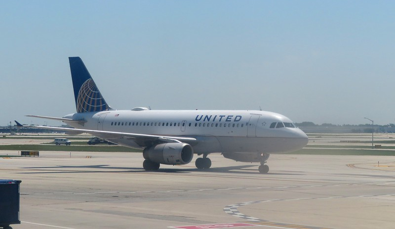 United Airlines Airbus A319 at Chicago O'Haire Airport, 29.06.2018.