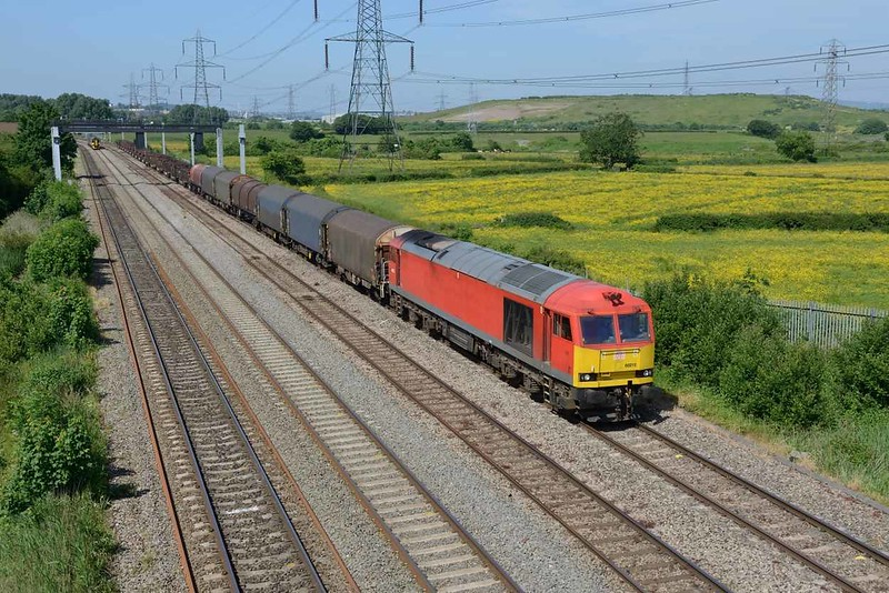6 June 2018 :: 60015 has lost its bodyside DB Schenker logos and is pictured at Duffryn with 6H26 from Llanwern to Matgam