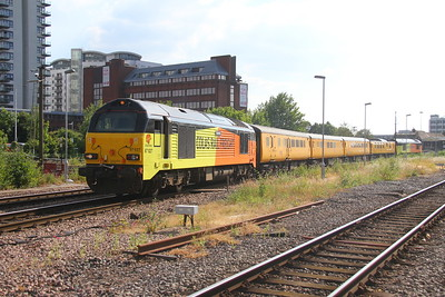 67027 Basingstoke 28/06/18 1Q23 Salisbury to Reading Triangle Sidings which ran back early via Winchester owing to technical problems with the equipment caused by the hot weather