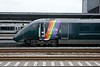 12 June 2018 :: The side on view of the new GWR rainbow stripes on 800 008