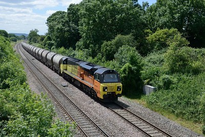 21 June 2018 :: Another train that was diverted due to the closure of the Severn Tunnel is 6C36, the empty cement wagons from Moorswater to Aberthaw with 70806 leading as it passes Haresfield