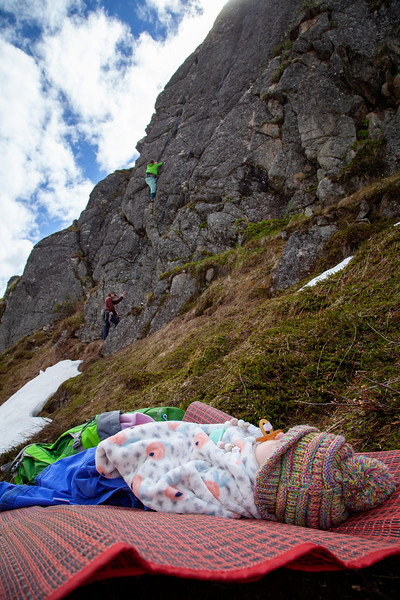 Tracy follows up <i>Could Be Better 5.8</i> while Luna takes a nap on the mossy hillside below.