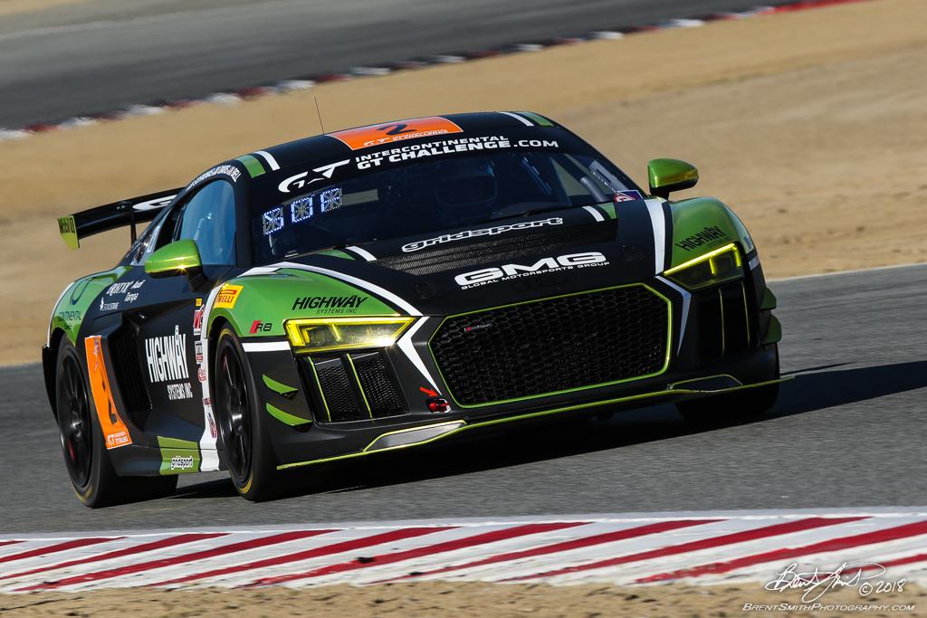 California 8 Hours - Intercontinental GT Challenge - Mazda Raceway Laguna Seca - 2 GMG Racing Audi R8 GT4, James Sofronas, Jason Bell, Andrew Davis