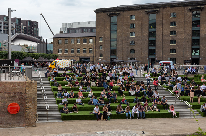 Enjoying the Astroturf  by Granary Square