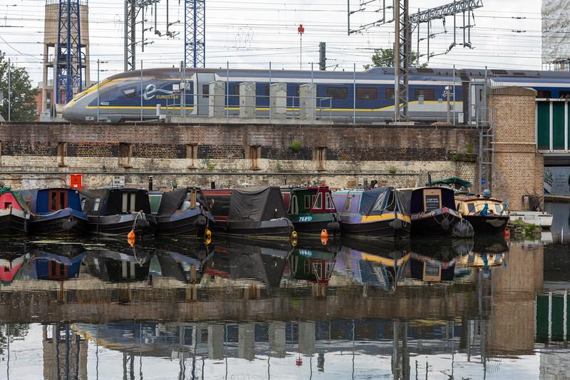 Eurostar train crossing Regent's Canal