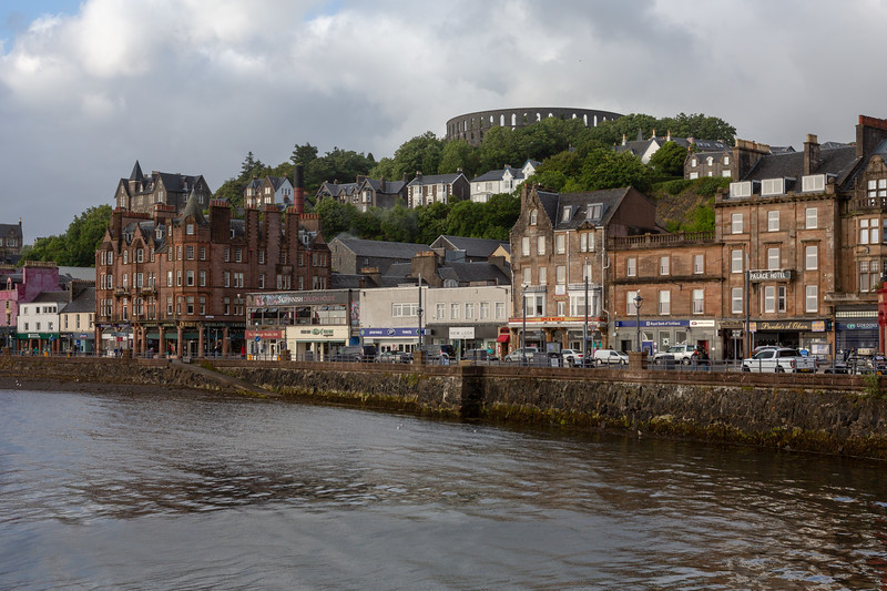 Oban waterfront, McCaig's Tower in the background