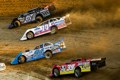 Scott Bloomquist (0), Darrell Lanigan (14), Austin Rettig (94) and Tim McCreadie (39)