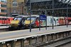 "20 March 2018 ::  2 celebrity Class 91's at King's Cross. 91110 ""Barrle of Britain Memorial Flight"" and 91111 ""For the Fallen"""