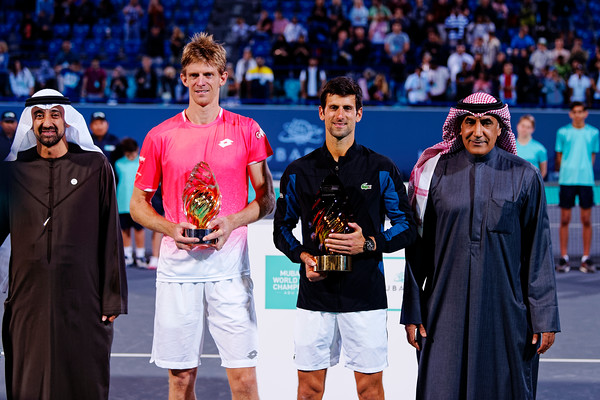 01.04 Finalists Kevin Anderson and Novak Djokovic - Mubadala WTC 2018
