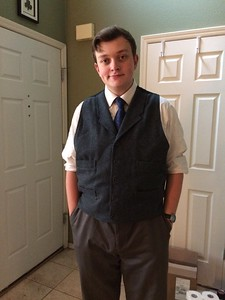 Noah dressed up on his birthday because it was the day to get his school photo ID taken.