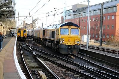 66745 1224/6B64 North Blythe-West Burton coal passes through Newcastle Central   27/12/18