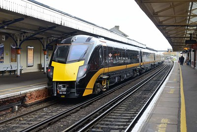 9 November 2018 :: 180102 has recently been refurbished at Eastleigh and is being moved back to operational duties with Grand Central and is seen at Basingstoke working 5Q12 to Heaton