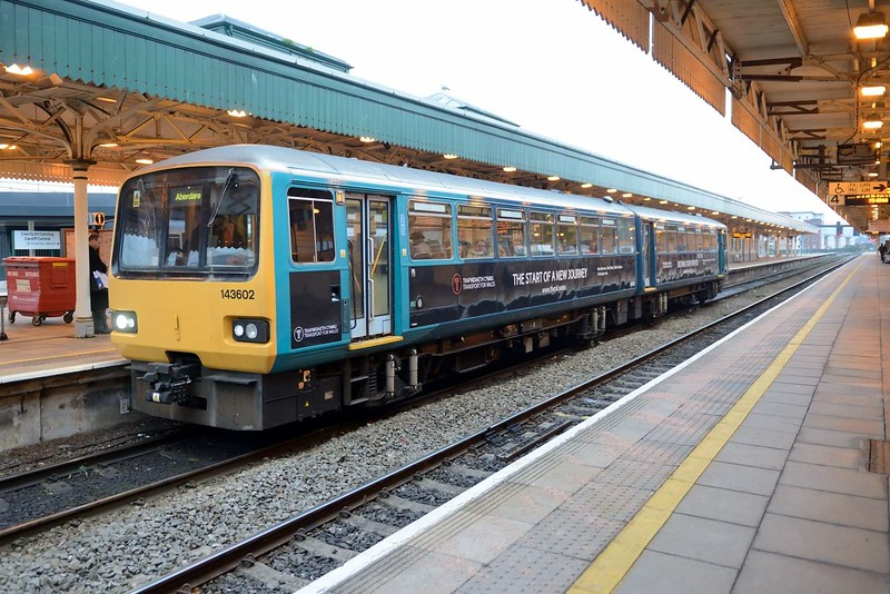 22 November 2018 :: 143602 is seen at Cardiff Central displaying a branding for its new operator, Transport for Wales . The train is 2A40, the 1442 from Bridgend to Aberdare
