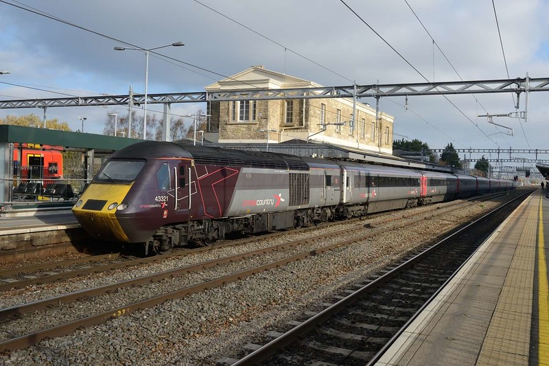 15 November 2018 :: A Cross Country train in an unusual location at Swindon saw power car 43321 working 1V46, the 0645 from York to Plymouth.  The unusual route occurred due to the closure of the line at Filton Abbey Wood