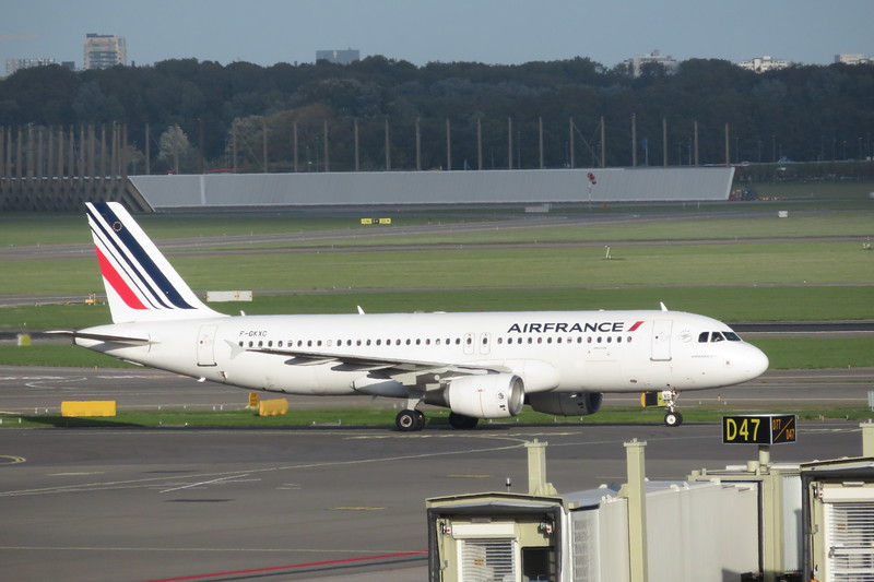 Air France Airbus A320 F-GKXC arriving at Amsterdam Schiphol Airport with a flight from Paris Charles De Gaulle, 03.10.2018.