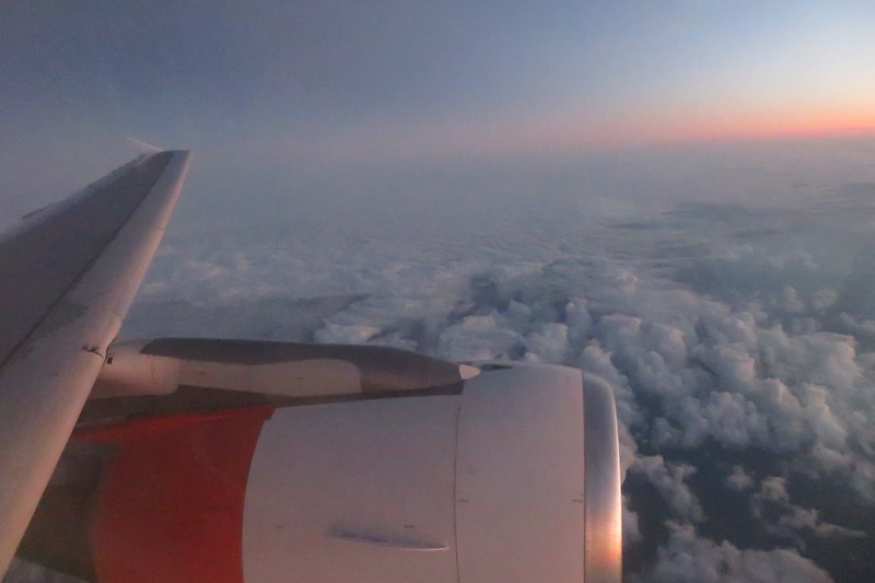 Flying from Amsterdam Schiphol to London Luton on EasyJet white liveried Airbus A319 G-EZEH, 03.10.2018.