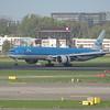 KLM Boeing 777-300 PH-BVG landing at Amsterdam Schiphol from Shanghai, 03.10.2018.