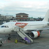 EasyJet white liveried Airbus A319 G-EZEH at London Luton Airport with my flight to Amsterdam, 03.10.2018.