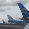 Tails from KLM, Delta and China Southern aircraft at Amsterdam Schiphol Airport, 03.10.2018.
