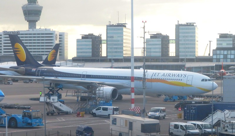 Jet Airways Airbus A330 VT-JWU at Amsterdam Schiphol Airport between flights to Bengaluru, 03.10.2018.