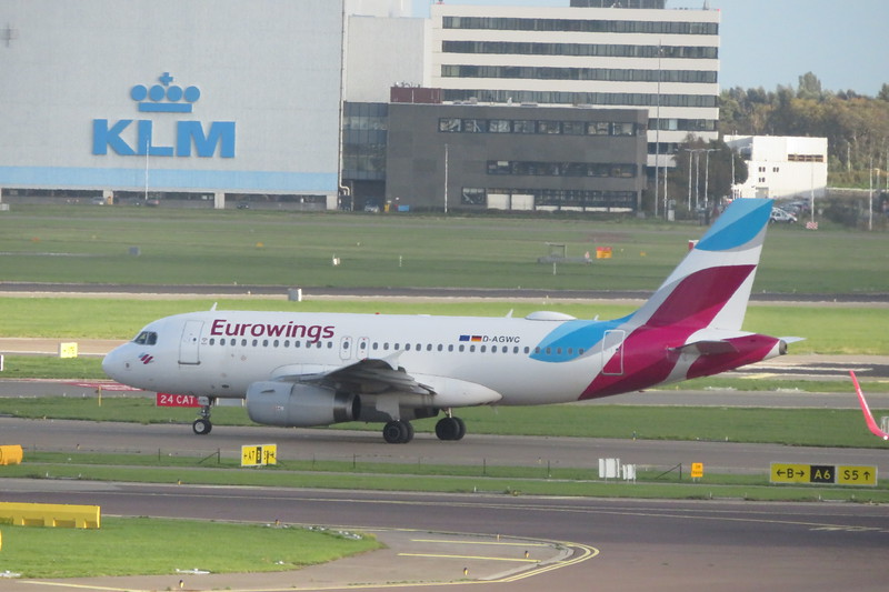 Eurowings Airbus AA319 D-AGWC leaving Amsterdam Schiphol Airport on a flight to Stuttgart, 03.10.2018.