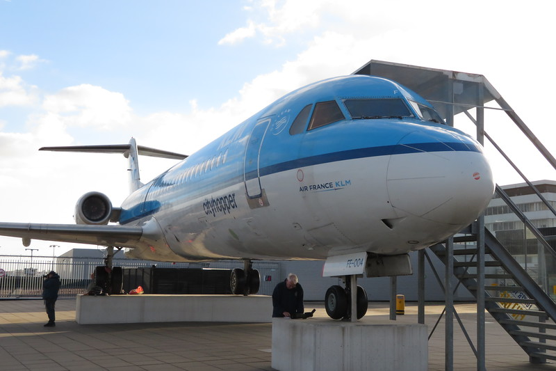 KLM Cityhopper Fokker 100 PH-OFE on display on the Panorama Terrace at Amsterdam Schiphol Airport, 03.10.2018.