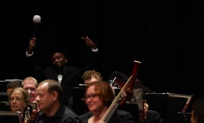 Gardner-Webb Orchestra preforms for children at Shelby High School.