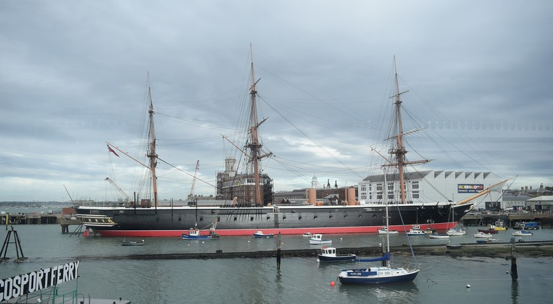 The 1860-built HMS Warrier at Portsmouth Harbour, 13.10.2018.