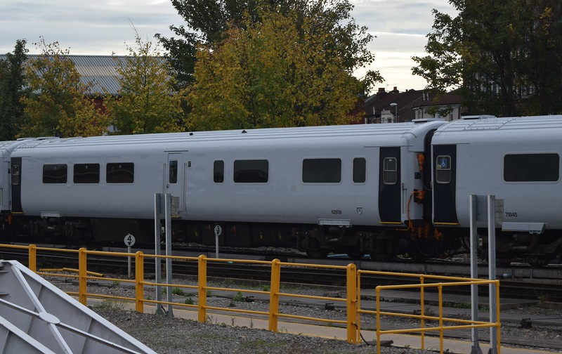Newly repainted South Western Railway Class 442 no. 442404 at Fratton between test runs, 13.10.2018.