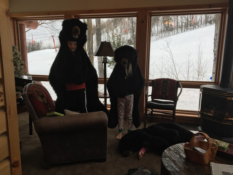 Cole, Mia and Peyton play with the bear rugs in our unit. Beckett was scared out of his pants