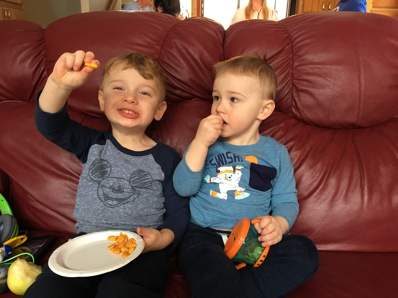 Beckett and cousin Ryan sharing their crackers with whoever walks by.