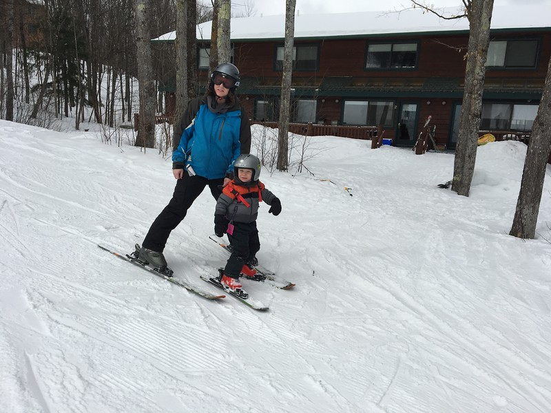 Erin and Beckett (his first time on skis)