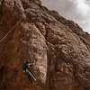 Pat pulls through our variation of some unknown climbing at Lone Mountain in Las Vegas.