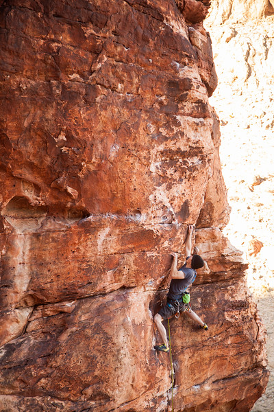 Pat pulls down on a 5.10c at the Conundrum Crag in Red Rocks, Nevada.