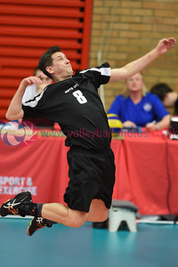 City of Edinburgh II 2 v 3 Mets Vets (19-25, 17-25, 25-21, 25-23, 1-15), Men's Plate Final, University of Edinburgh, Centre for Sport and Exercise, 21 April 2018.  © Lynne Marshall  http://www.volleyballphotos.co.uk/2018/SCO/Cups/2018-04-21-Mens-Plate-Final/