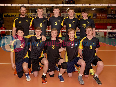 South Ayrshire v City of Edinburgh, 2018 U18 Boys Scottish Cup, University of Edinburgh Centre for Sport and Exercise, Sun 22nd Apr 2018.  © Michael McConville   https://www.volleyballphotos.co.uk/2018/SCO/Junior-SVL/2018-04-22-Mens-U18-Cup-Final