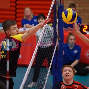 South Ayrshire 1 v 2 City of Edinburgh (25-22, 24-26, 8-15), 2018 U18 Boys Scottish Cup, University of Edinburgh Centre for Sport and Exercise, Sun 22nd Apr 2018.  © Michael McConville   https://www.volleyballphotos.co.uk/2018/SCO/Junior-SVL/2018-04-22-Mens-U18-Cup-Final