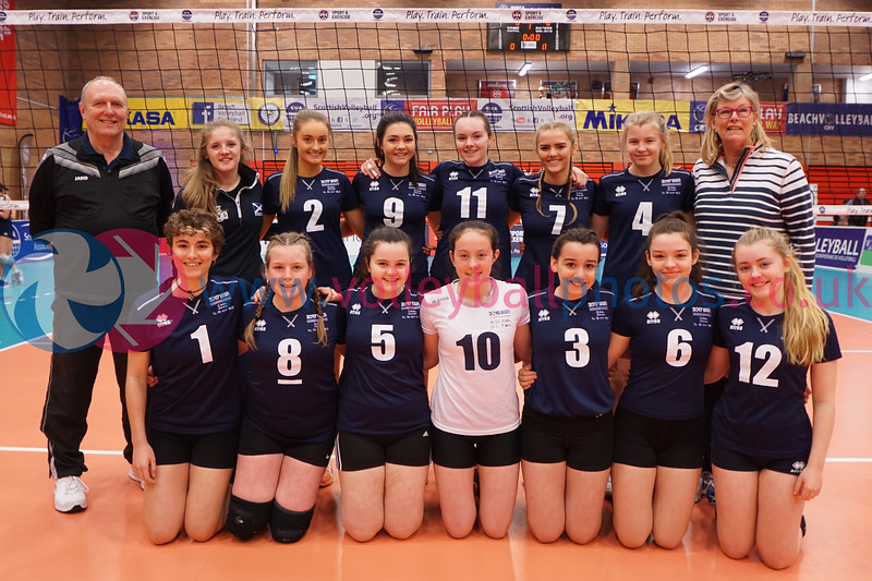 """Marr College A v City of Edinburgh A, 2018 U16 Girls Scottish Cup, University of Edinburgh Centre for Sport and Exercise, Sun 22nd Apr 2018. <br /> © Michael McConville  <br /> <a href=""""https://www.volleyballphotos.co.uk/2018/SCO/Junior-SVL/2018-04-22-Womens-U16-Cup-Final"""">https://www.volleyballphotos.co.uk/2018/SCO/Junior-SVL/2018-04-22-Womens-U16-Cup-Final</a>"""