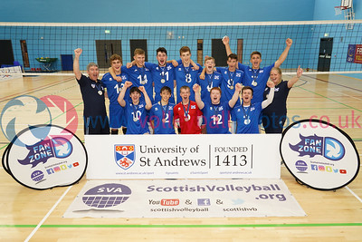 Flying Scots East 2 v 1 Flying Scots West (25-9, 24-26, 15-7), 2018 Flying Scots International Invitational, Boys Final, University of St Andrews Sports Centre, Sun 2nd Sep 2018.  © Michael McConville. View more photos at:  https://www.volleyballphotos.co.uk/2018/SCO/NT/U20M/2018-09-02-flying-scots