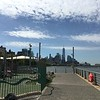SHARON AND I TOOK THE SUBWAY DOWN TO LOWER MANHATTEN AND WALKED ALONG THE BOARDWALK