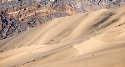 The dunes with the barren rocky mountain as the backdrop.