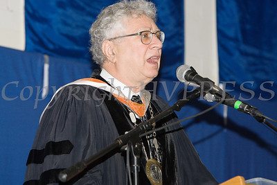 Interim President Dr. David Kennett welcomes those gathered for Mount Saint Mary College's 55th Commencement Exercises for the graduating Class of 2018 in Newburgh, NY on Saturday, May 19, 2018. Hudson Valley Press/CHUCK STEWART, JR.