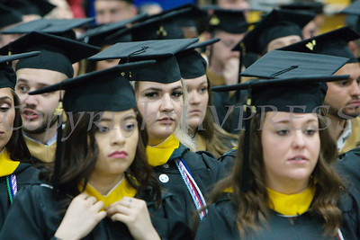 Students place their hoods as Mount Saint Mary College held its 55th Commencement Exercises for the graduating Class of 2018 in Newburgh, NY on Saturday, May 19, 2018. Hudson Valley Press/CHUCK STEWART, JR.