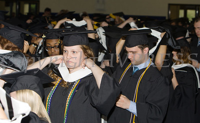 Students prepare to place their hoods as Mount Saint Mary College held its 55th Commencement Exercises for the graduating Class of 2018 in Newburgh, NY on Saturday, May 19, 2018. Hudson Valley Press/CHUCK STEWART, JR.