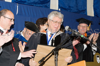 Dean Goldberg presented Dr. David Kennett with the College Faculty Award as Mount Saint Mary College held its 55th Commencement Exercises for the graduating Class of 2018 in Newburgh, NY on Saturday, May 19, 2018. Hudson Valley Press/CHUCK STEWART, JR.