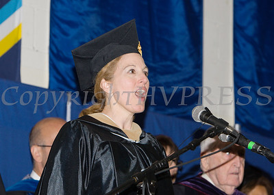 "MSgt. MaryKay Messenger sings ""God Bless America"" as Mount Saint Mary College held its 55th Commencement Exercises for the graduating Class of 2018 in Newburgh, NY on Saturday, May 19, 2018. Hudson Valley Press/CHUCK STEWART, JR."